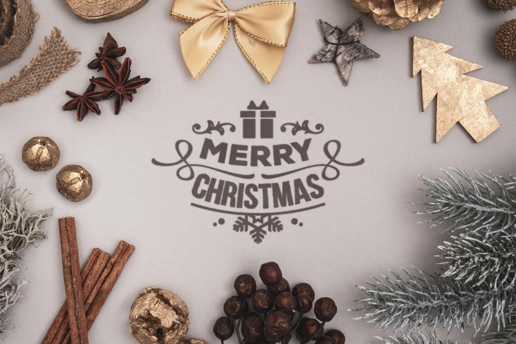 圣诞节主题氛围场景设计样机模板 Natural Christmas background mockup插图