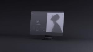 网站UI设计效果图预览黑色iMac电脑样机模板 Dark iMac Mockup插图3