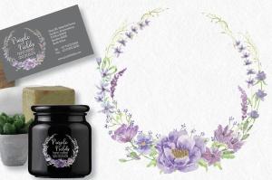 紫色水彩手绘花环图案PNG素材 Trio of Watercolor Floral Wreaths in Purple Shades插图2