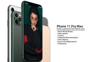 2019全新一代iPhone 11 Pro侧立面正反面视图样机模板 iPhone 11 Pro Layered PSD Mock-ups插图1