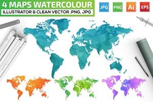 4款世界地图水彩手绘矢量图形素材 4 Maps Watercolour Design插图1