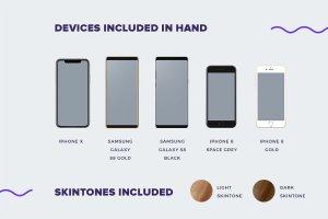 完美的手持iPhone X和三星安卓最新手机展示模型Mockups插图2