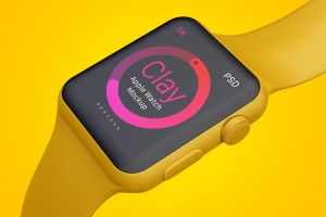 Apple Watch手表表盘UI界面设计效果图样机05 Clay Apple Watch Mockup 05插图5