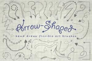 箭头图形插画艺术AI笔刷 Illustrator Arrow-Shaped Art Brushes插图1