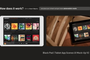iPad平板电脑演示APP设计样机模板 Black iPad | Tablet App Scenes UI Mock-Up插图4