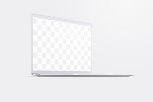 15寸MacBook Pro苹果笔记本电脑屏幕设计效果图预览前左视图样机02 Clay MacBook Pro 15″ with Touch Bar, Front Left View Mockup 02插图2