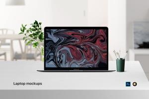简约风办公环境超极本电脑屏幕预览样机 Laptop Mockup插图1