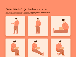 一流设计素材网下午茶:自由职业者插图集[AI]插图1