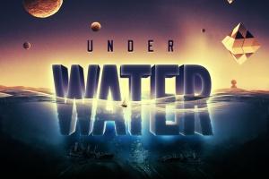 炫酷3D立体水面漂浮文字样式PSD分层模板 Underwater Text Logo Effect插图4
