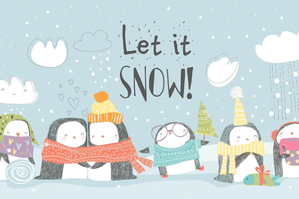 卡通企鹅庆祝圣诞节场景矢量插图素材 Cute penguins celebrating Christmas. Vector illust插图