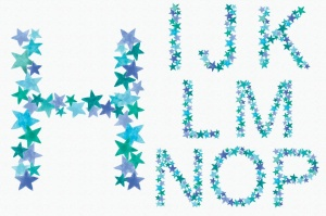 绿蓝配色26个星星字母剪贴画PNG设计素材 Greeny Blue Star Alphabet插图3