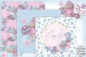 糖果女孩水彩花卉剪贴画合集 Candy Girl digital paper pack插图5