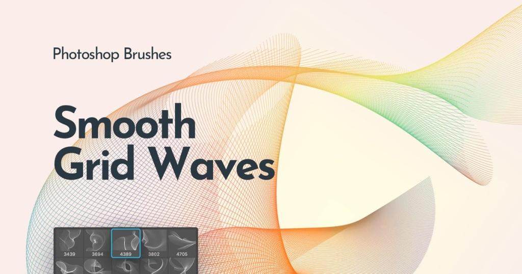 流动的网状波纹PS笔刷 Flowing Network Waves Photoshop Brushes插图