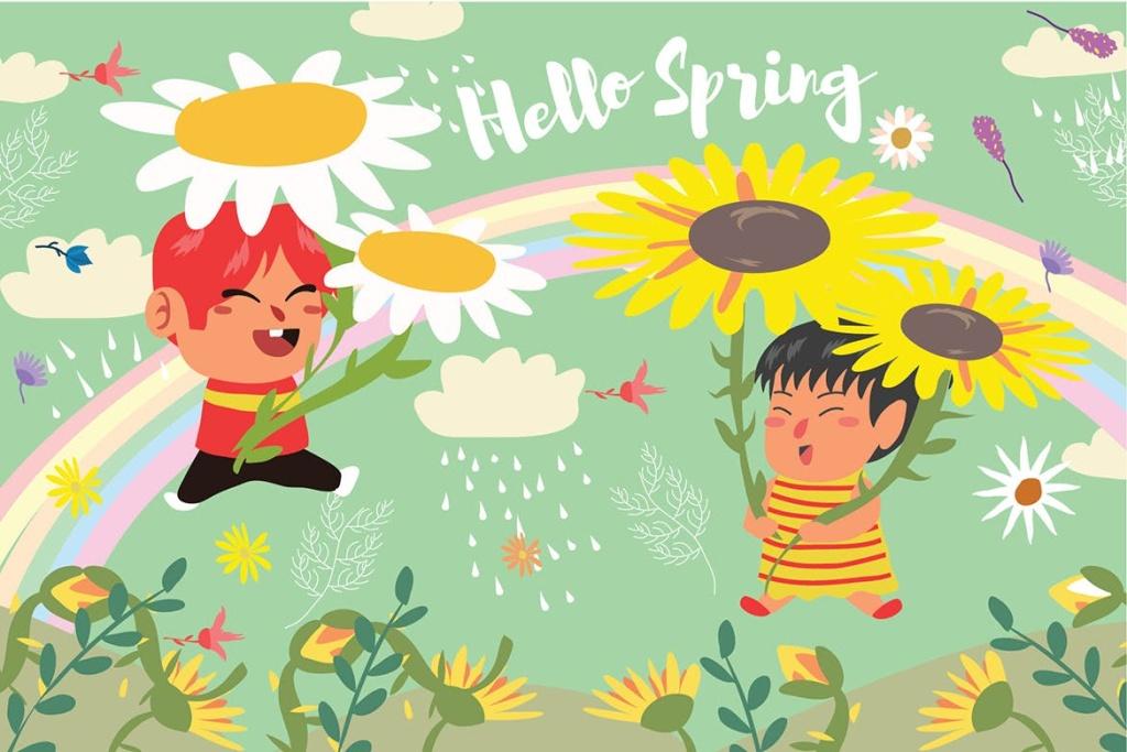 春天儿童乐园主题矢量插画素材 Hello Spring – Vector Illustration插图