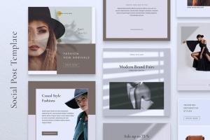 品牌服装Instagram品牌故事设计模板 NICHA Instagram Post插图3