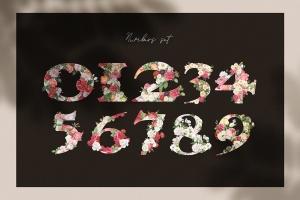 复古风格花卉字母&数字设计PNG素材 Vintage Flower Alphabet插图5