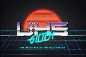 80年代复古文本图层样式 80s Retro Illustrator Styles插图5