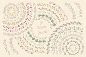 花卉元素图案AI笔刷 Floral Pattern Brushes For Illustrator插图4