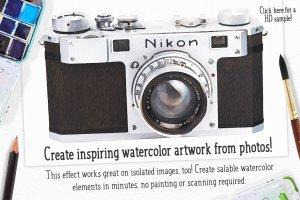 水彩插画效果PS图层样式 Watercolor Photo Effect Pro插图2