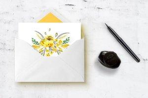 手工制作的水彩花朵花卉  Vibrant Colors Flowers插图2