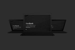 MacBook笔记本电脑多屏幕预览前视图样机03 Clay MacBook Mockup, Front View 03插图4