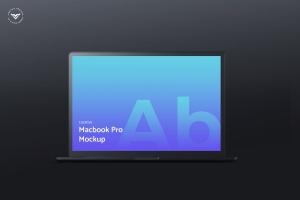 黑色笔记本电脑屏幕网站设计演示样机 Dark Laptop Mockups插图1
