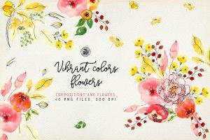 手工制作的水彩花朵花卉  Vibrant Colors Flowers插图1