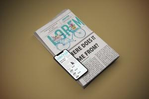 电子版报纸版式设计效果图样机 Newspaper App MockUp插图2