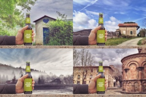 手持啤酒瓶外观印刷图案设计预览样机模板 Rustic Beer Mockup插图3