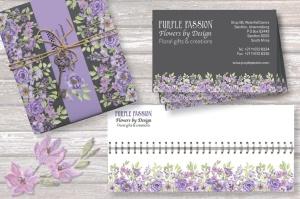 紫色水彩花卉边框&元素剪贴画PNG素材 Purple Watercolor Floral Border Plus Elements插图5