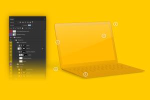MacBook陶瓷黏土材质笔记本电脑UI设计预览左视图样机 Clay MacBook Mockup, Left View插图5