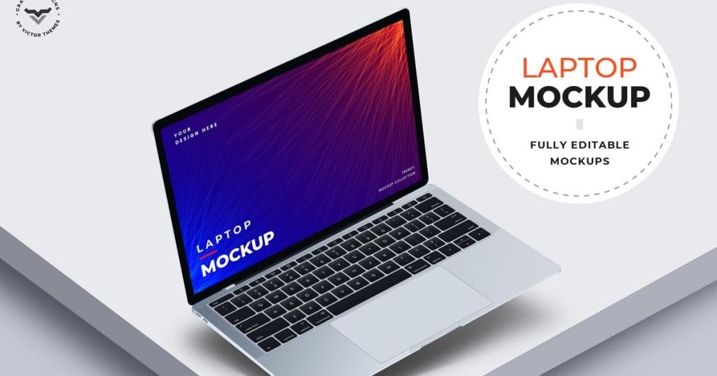 苹果Macbook Pro超极本电脑屏幕预览样机模板 Laptop Mockups插图
