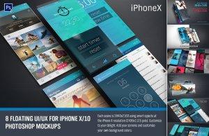 现代独特iPhone X浮动特效 UI设计展示PSD模型Mockups插图1