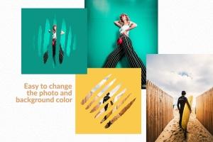 图片条纹笔刷蒙版遮罩PSD分层模板 Stripes Brush Photo Templates Vol 2插图4