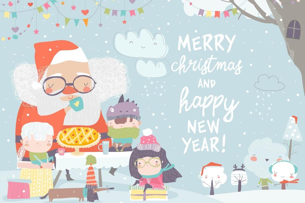 圣诞老人&快乐儿童茶话会场景矢量插画素材 Santa Claus drinking tea with happy children. Vect插图