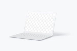 MacBook笔记本电脑屏幕演示右视图样机 Clay MacBook Mockup, Right View插图2