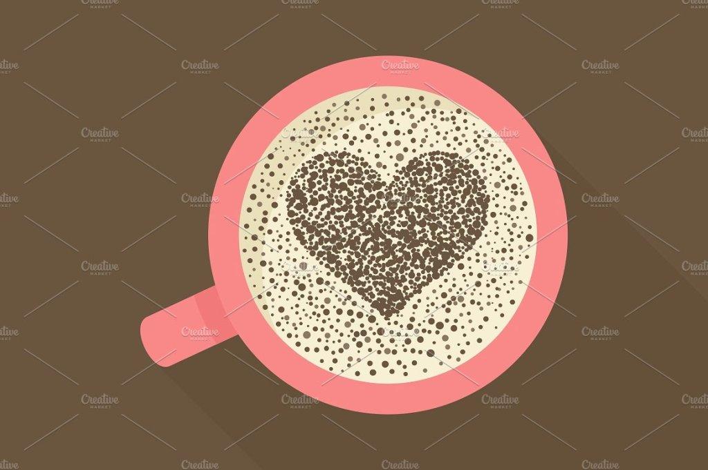 可爱的爱心咖啡杯矢量插画 Coffee love插图
