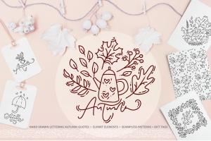 秋季花卉元素手绘线条画矢量插画素材 Monoline vector autumn floral elements插图1