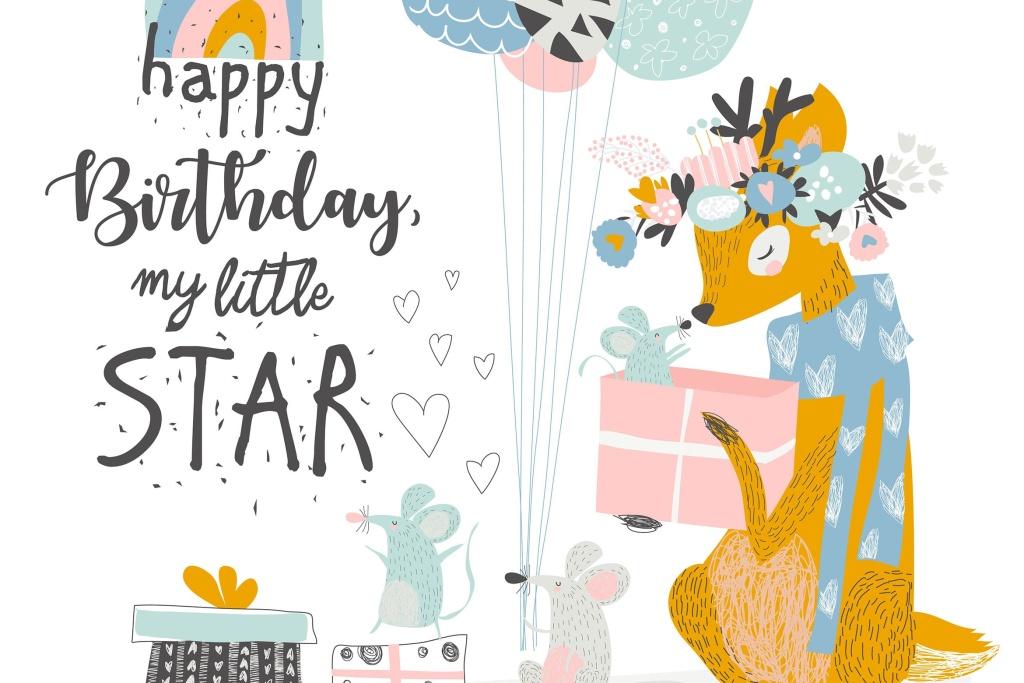 可爱麋鹿&老鼠矢量动物手绘插画设计素材 Vector Greeting Birthday card with cute deer and m插图