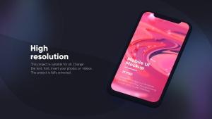 黑色iPhone手机UI界面设计效果图等距网格样机模板 Dark iPhone Mockup插图6