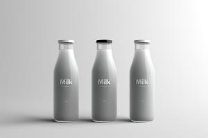 玻璃牛奶瓶牛奶品牌Logo设计展示样机模板 Milk Bottle Packaging Mock-Up插图1