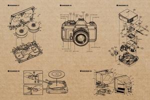 复古视听电器可视化结构矢量图形素材 Retro Diagrams – Audio Visual Edition插图2