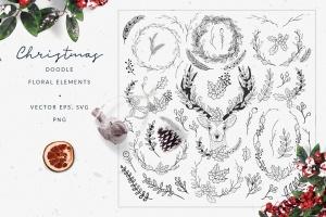 60+圣诞节主题手绘涂鸦花卉元素 Christmas Doodle Floral Elements插图1
