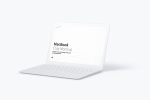 MacBook笔记本电脑屏幕演示右视图样机 Clay MacBook Mockup, Right View插图1
