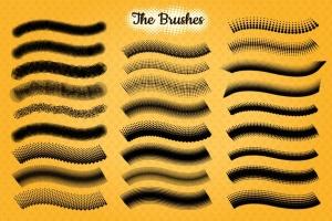 半色调点状/线条AI笔刷 Halftone Brushes + Bonus Patterns插图3