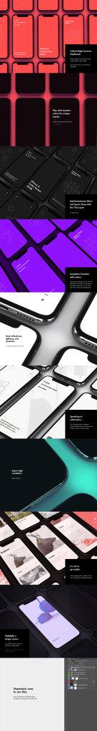 一流设计素材网下午茶:质感超级震撼的多角度iPhone X的APP设计展示模型下载[PSD]插图