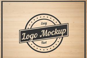 平面logo木板背景纹理样机 Logo Flat Mockup插图4