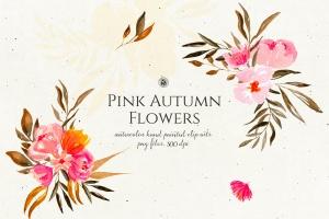 秋天粉色手绘花卉插画PNG素材v2 Pink Autumn Flowers vol.2插图1