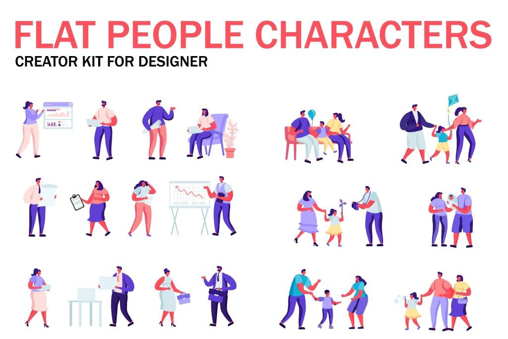 扁平化设计风格虚拟人物角色图形设计工具包v4 Flat People Character Creator Kit插图