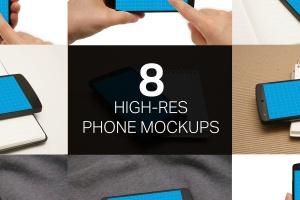 手机UI&APP设计演示样机套装 8 Phone Mockups插图1